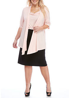Connected Apparel Plus-Size Mock Two-Piece Jacket Dress