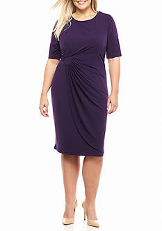 Connected Apparel Plus Size Matte Jersey Ruched Dress