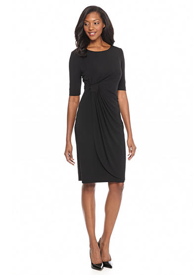 Connected Apparel Jersey Faux Wrap Dress