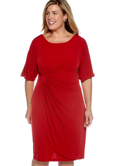 Connected Apparel Plus Size Matte Jersey Wrap Dress