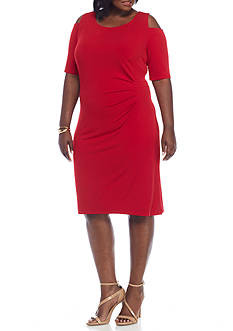 Connected Apparel Plus Size Cold Shoulder Sheath Dress