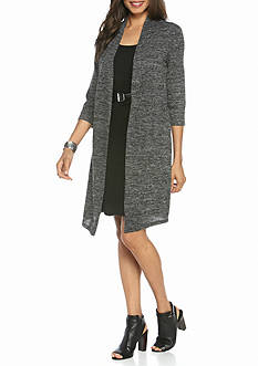 Connected Apparel Mock Two-Piece Belted Jacket Dress