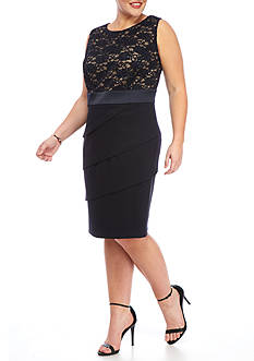 Connected Apparel Plus Size Lace Top Tiered Dress