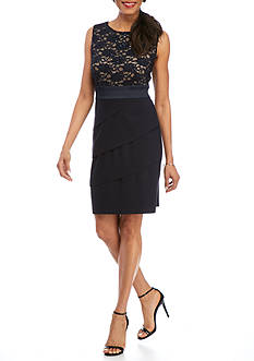 Connected Apparel Lace Top Tiered Sheath Dress