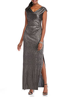 Connected Apparel Cowl-Neck Foiled Gown
