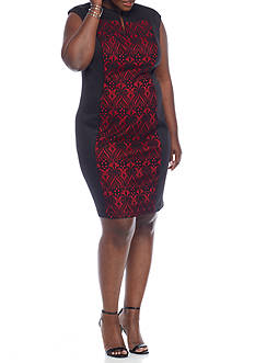 Connected Apparel Plus Size Lace Inset Sheath Dress