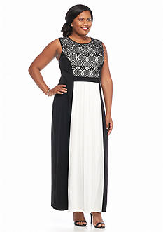 Connected Apparel Plus Size Colorblock Gown