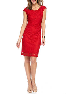 Connected Apparel Lace Sheath Dress