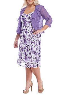 Connected Apparel Plus Size Floral 2-Piece Jacket Dress