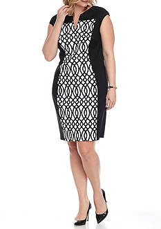 Connected Apparel Plus Size Printed Set In Dress