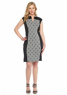 Connected Apparel Plus Size Textured Knit Sheath Dress