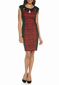 Connected Apparel Lace Inset Sheath Dress
