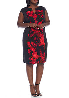 Connected Apparel Plus Size Scuba Sheath Dress