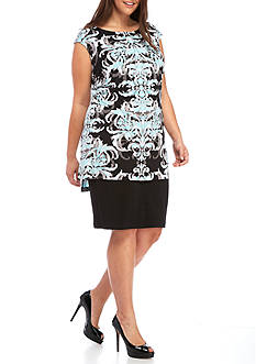 Connected Apparel Plus Size Cap Sleeve Printed Dress