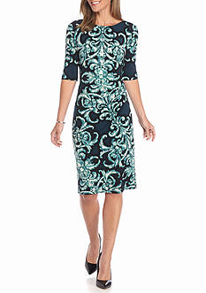 Connected Apparel Scroll Printed Sheath Dress