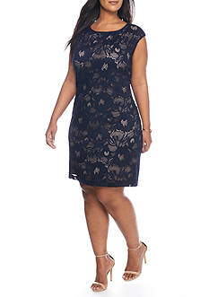 Connected Apparel Plus Size Lace Shift Dress