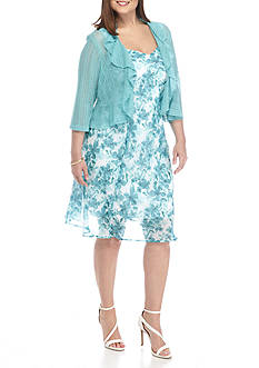 Connected Apparel Plus Size Floral Jacket Dress