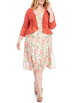 Connected Apparel Plus Size Floral Crochet Jacket Dress