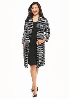Connected Apparel Plus Size Printed Mock Jacket Dress