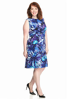Connected Apparel Plus Size Tiered Floral Printed Shift Dress