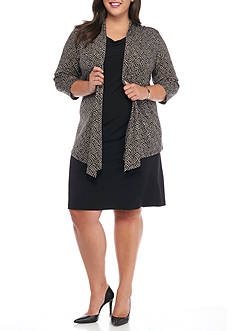 Connected Apparel Plus Size Mock Jacket Dress