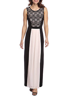 Connected Apparel Lace Top Colorblock Maxi Dress