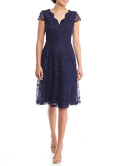Connected Apparel Lace Sweetheart Neck Dress