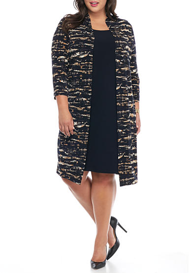 Connected Apparel Plus Size Mock Elongated Jacket Dress