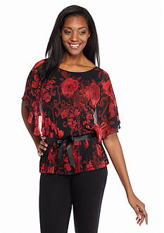 Connected Apparel Floral Printed Flyaway Blouse