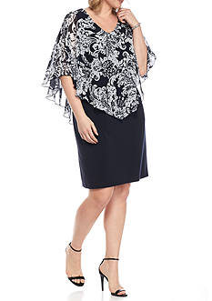 Connected Apparel Plus Size Capelet Dress
