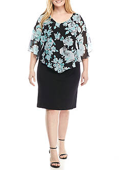 Connected Apparel Plus Size Floral Printed Capelet Overlay Dress