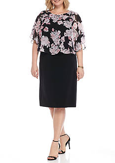 Connected Apparel Plus Size Floral Capelet Dress