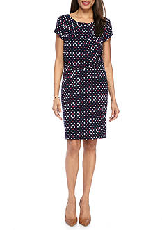 Connected Apparel Polka Dot Printed Jersey Dress