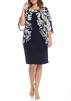 Connected Apparel Plus Size Sheer Printed Mock Jacket Dress