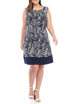 Connected Apparel Plus Size Printed Shift Dress