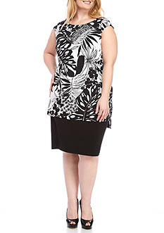 Connected Apparel Plus Size Sleeveless Printed Jersey Dress