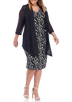 Connected Apparel Plus Size Printed Jacket Dress