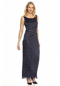 Connected Apparel Tiered Shimmer Gown
