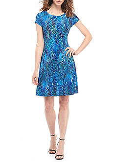 Connected Apparel Printed Fit and Flare Jersey Dress