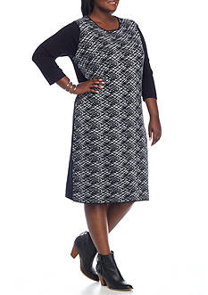 Connected Apparel Plus Size Printed Sweater Dress