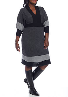 Connected Apparel Plus Size Rib Knit Sweater Dress