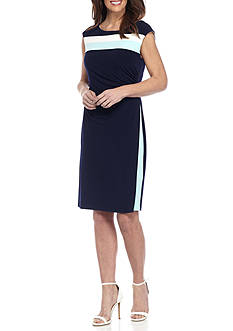 Connected Apparel Colorblock Sleeveless Dress