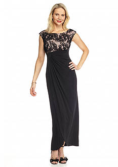 Connected Apparel Faux Wrap Jersey Gown