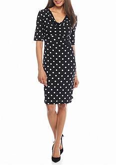 Connected Apparel Polka Dot Sheath Dress