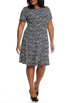 Connected Apparel Plus Size Scroll Print Fit and Flare Dress