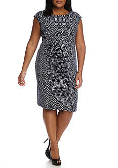 Connected Apparel Plus Size Gathered Waist Sheath Dress