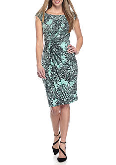 Connected Apparel Leaf Print Sheath Dress