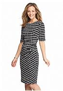 Connected Apparel Grid Printed Sheath Dress