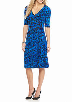 Connected Apparel Printed Fit and Flare Dress with Faux Leather Trim