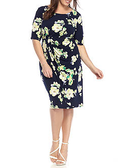 Connected Apparel Plus Size Floral Print Dress